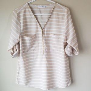 Calvin Klein Striped Half-Zip Blouse
